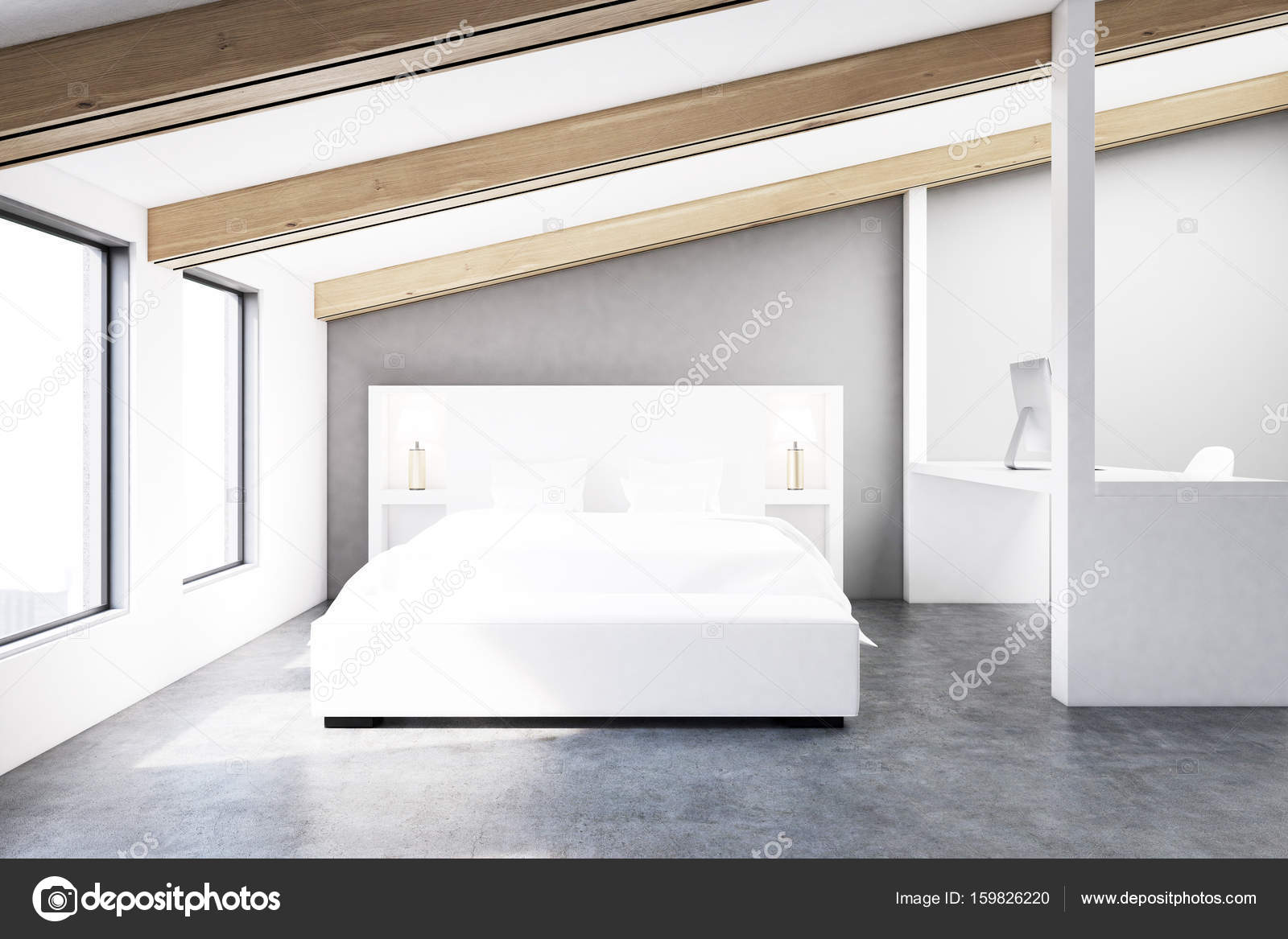 Grijze zolder slaapkamer, betonnen vloer — Stockfoto ...