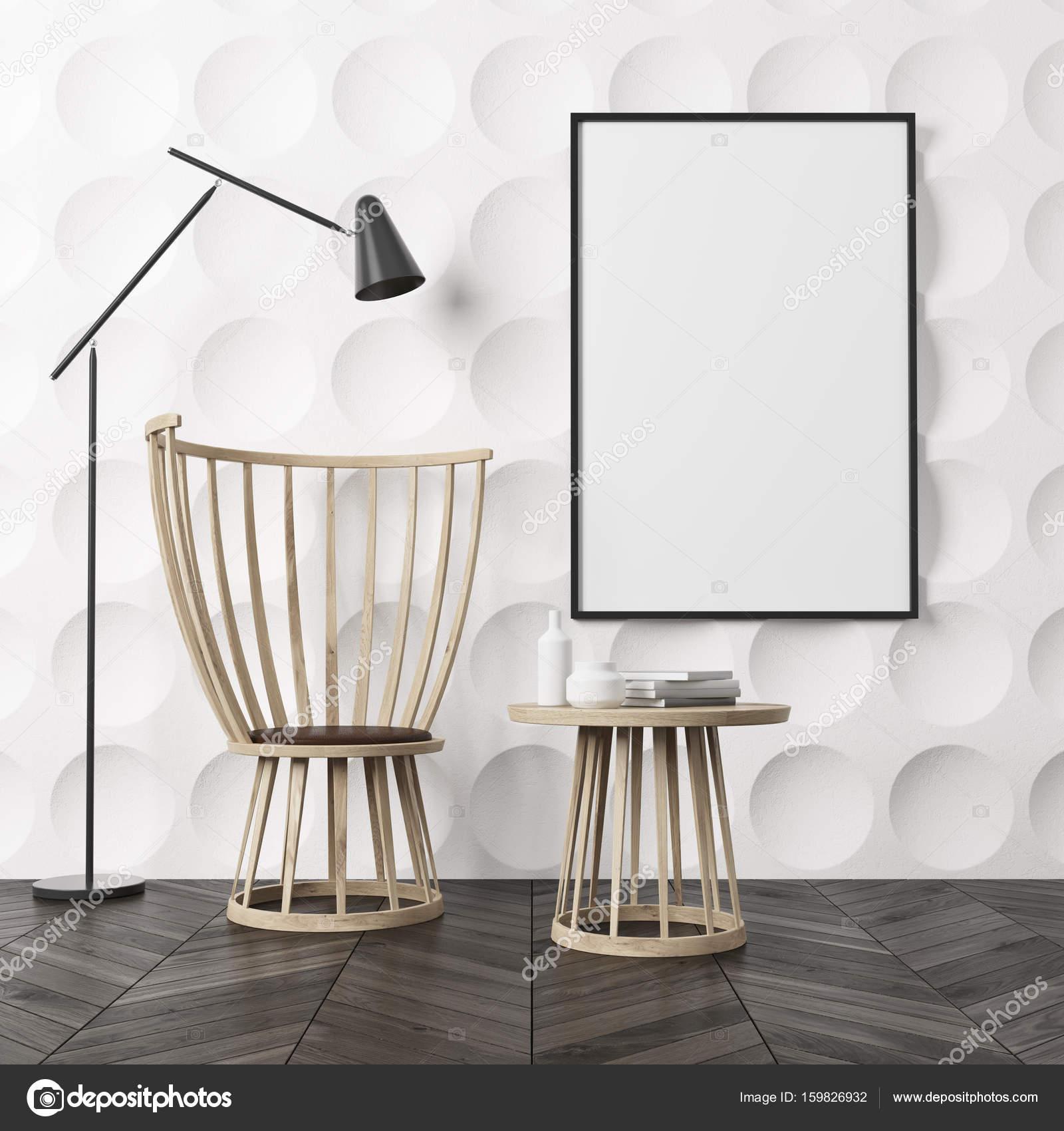 Leeren Raum Interieur Mit Weißer Kreis Muster Wände Und Einen Dunklen  Holzboden. Es Ist Ein Couchtisch Aus Holz Und Ein Stuhl, Ein Plakat An Der  Wand Und ...