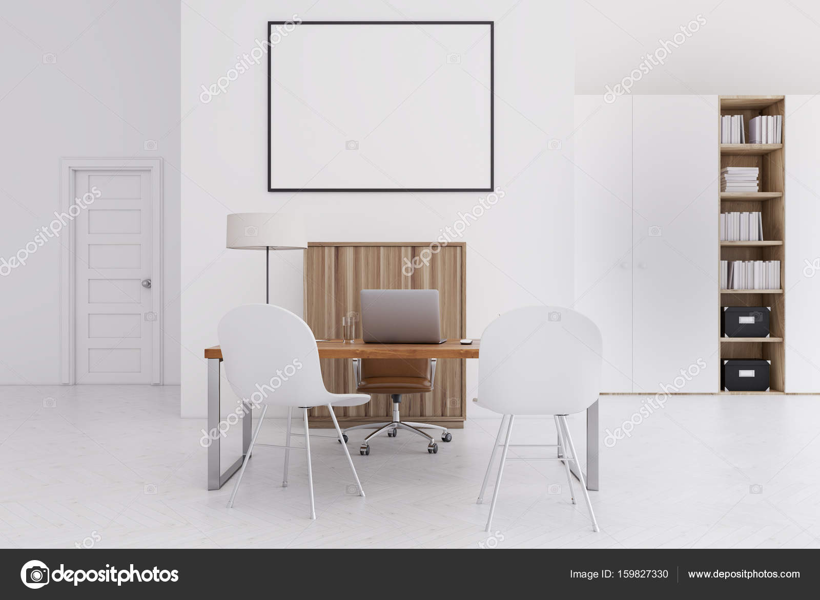 Armadio Ufficio Bianco : Ufficio bianco e legno piccolo manifesto u foto stock