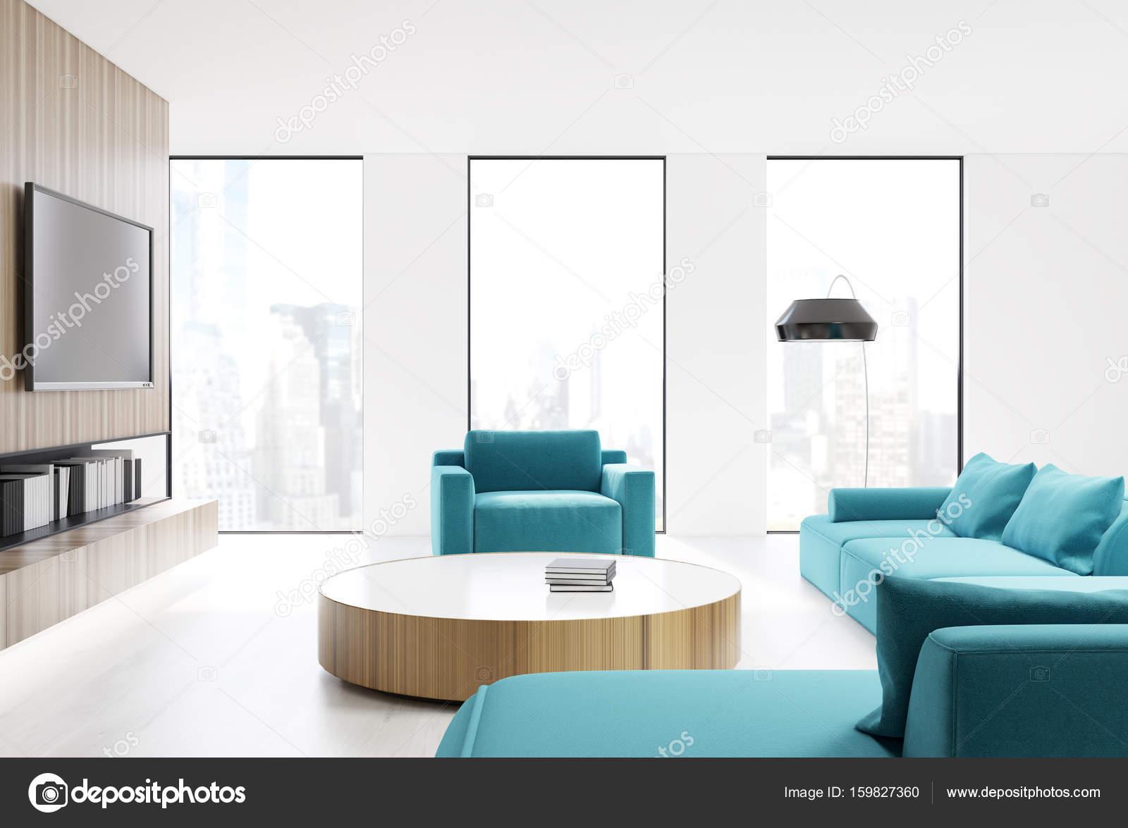 White living room interior, blue sofa — Stock Photo © denisismagilov ...