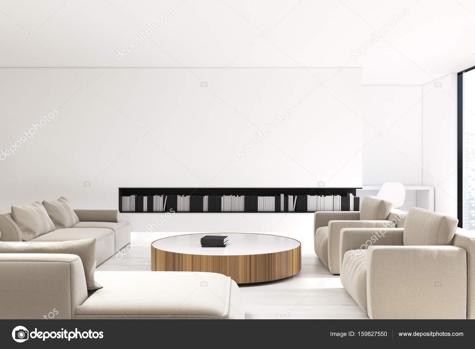 Weiße Wohnzimmer Interieur, Beige Sofa U2014 Stockfoto