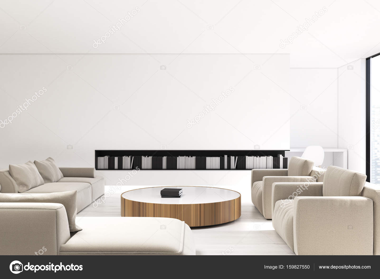 wit woonkamer interieur beige bank stockfoto