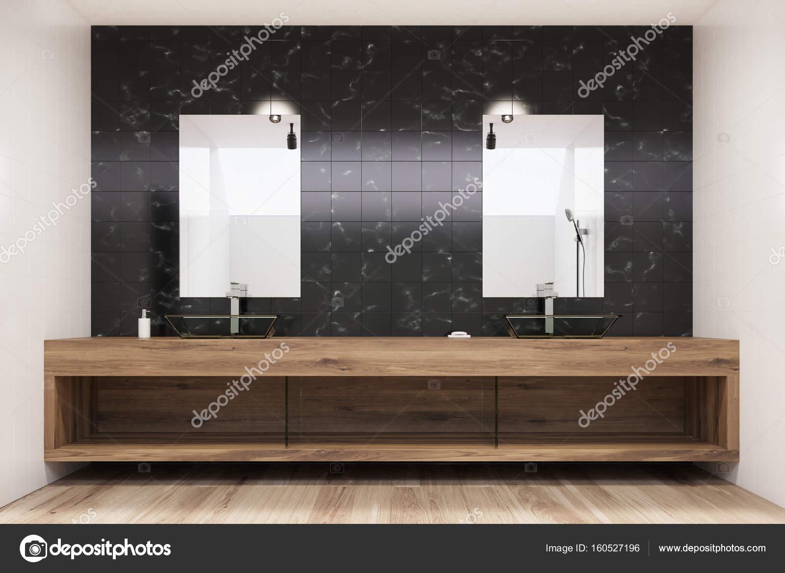 Nero piastrelle interni bagno due lavandini verticale u2014 foto stock