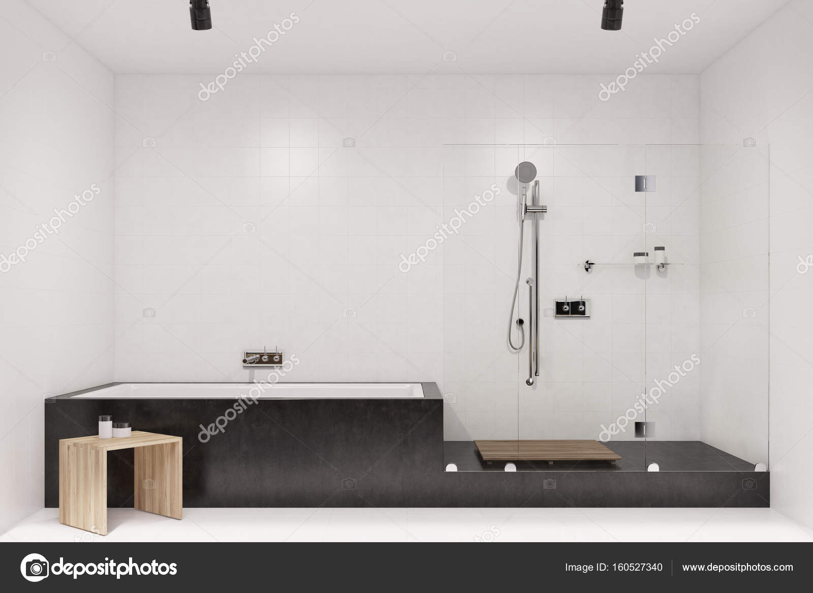 White tiled bathroom interior, shower — Stock Photo © denisismagilov ...