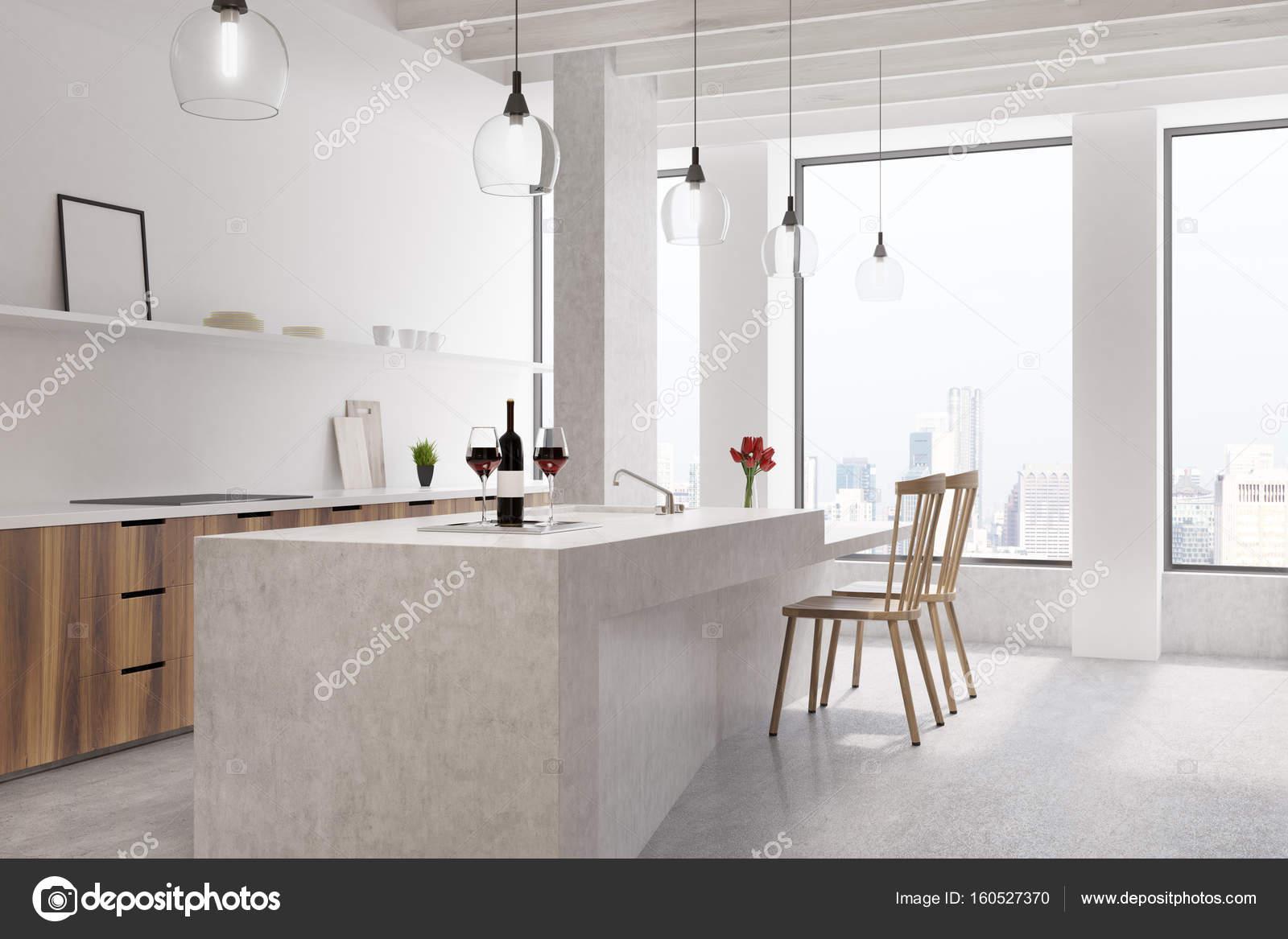 marbre de bar cuisine blanc, affiche — photographie denisismagilov