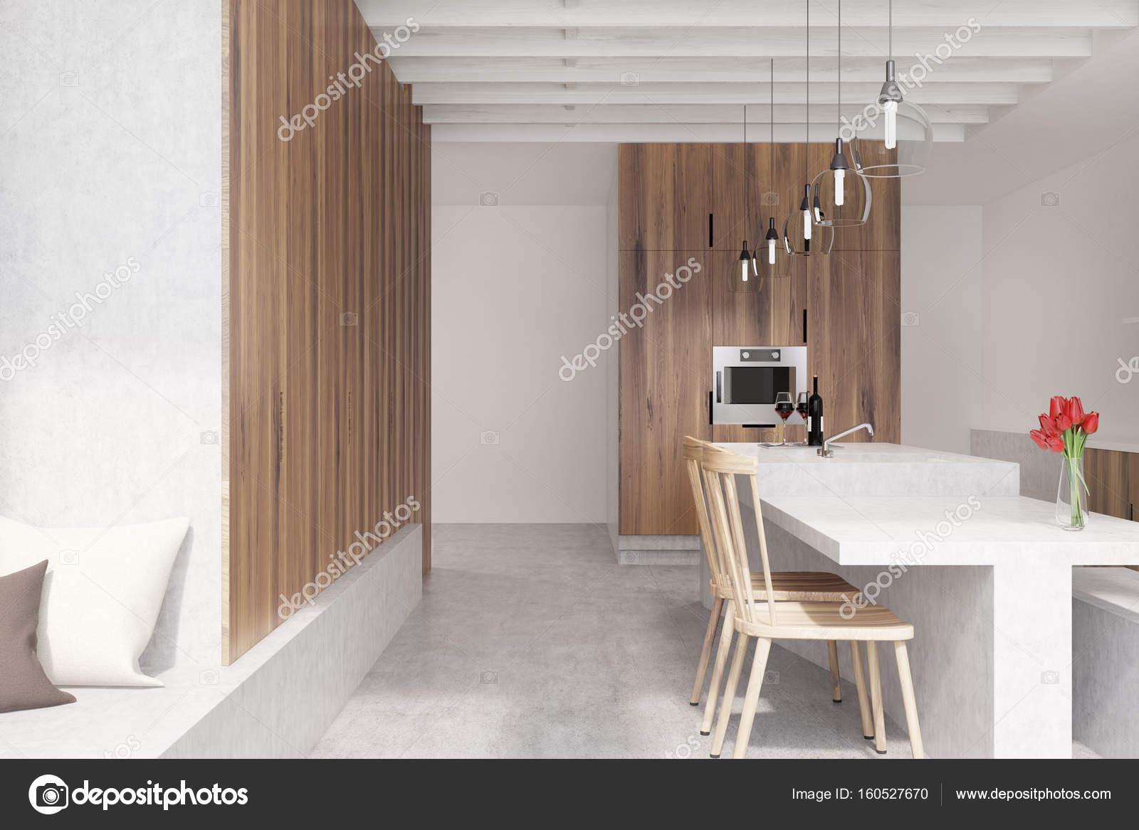 Marmer bar oven witte keuken kant u stockfoto denisismagilov