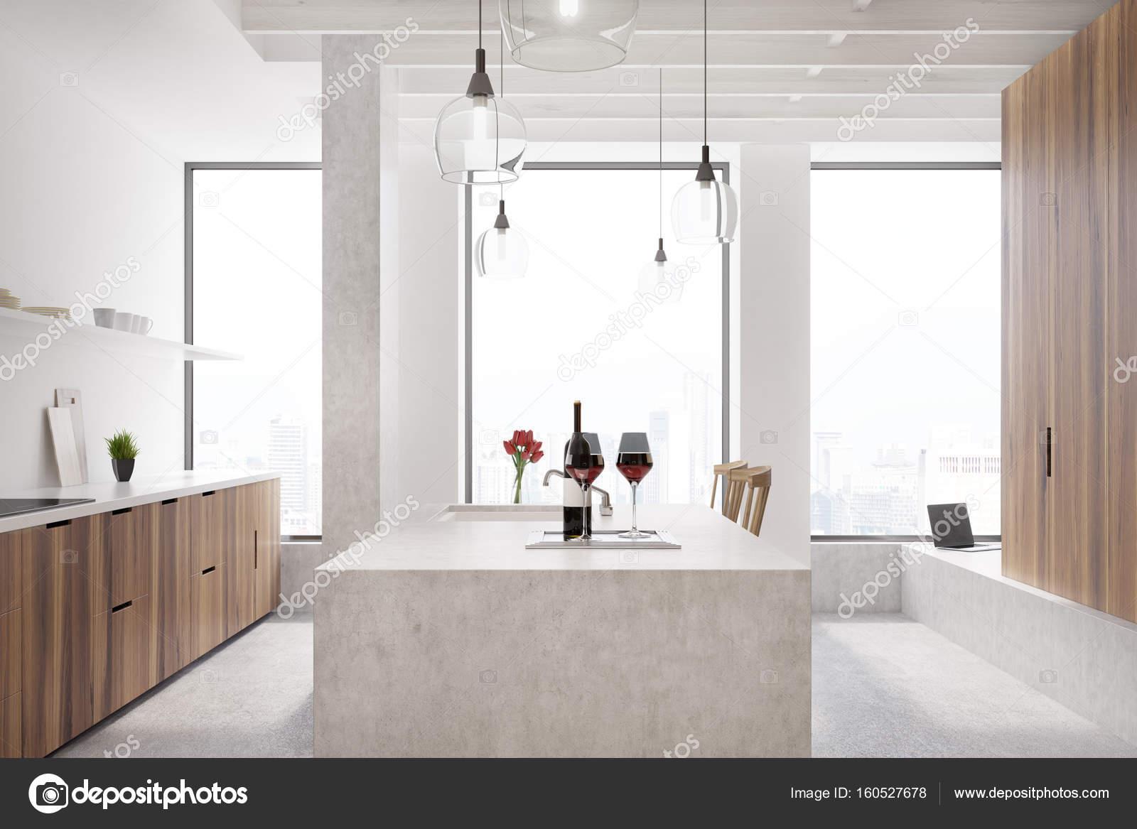 Marmeren bar witte keuken venster u stockfoto denisismagilov