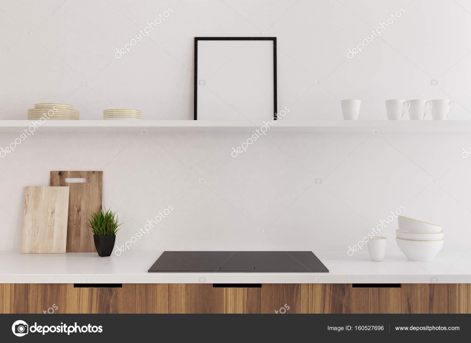 Marmer bar witte keuken oven poster close up u stockfoto