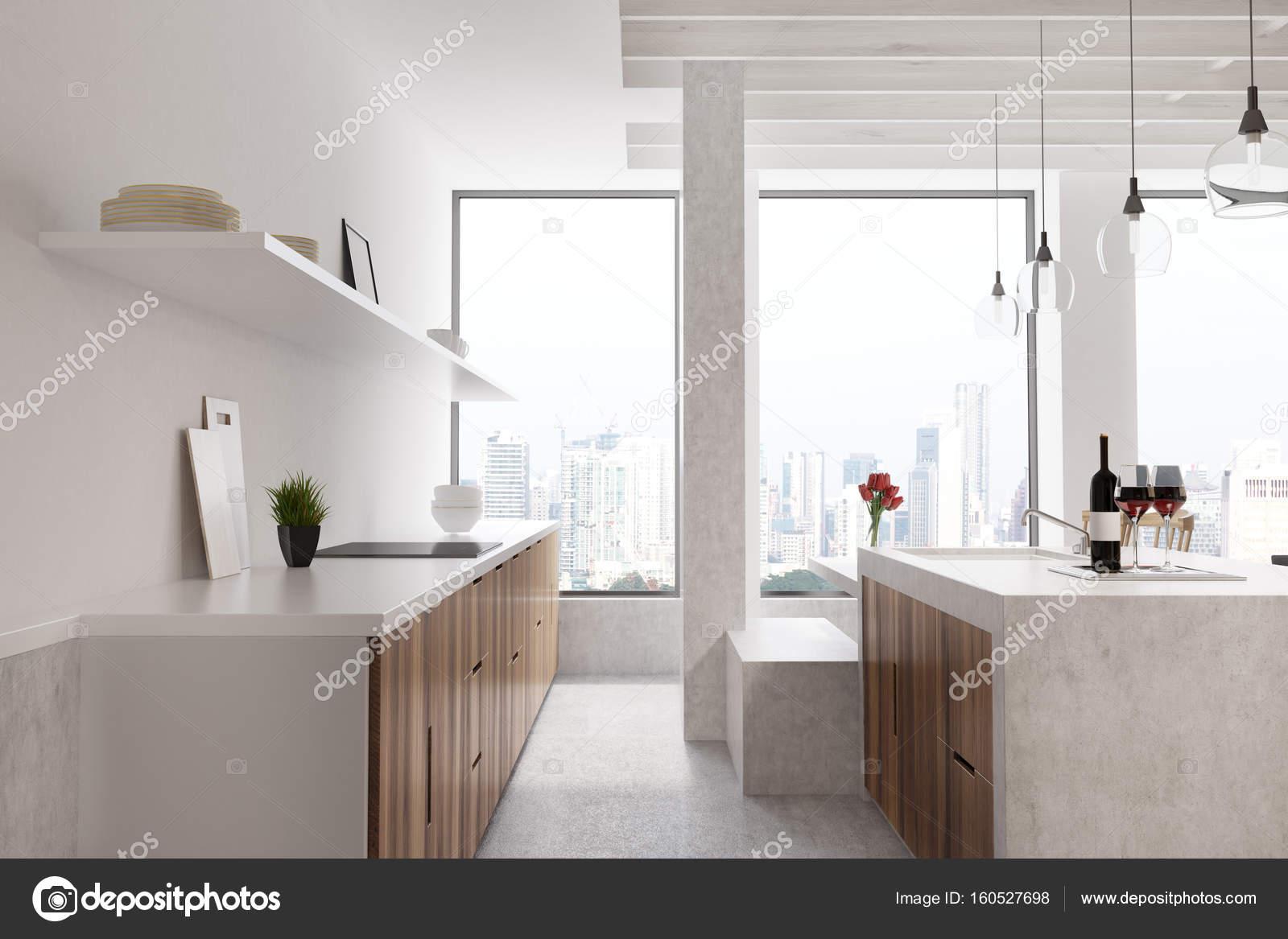 Marble bar weiße Küche, Fenster, vorne — Stockfoto © denisismagilov ...