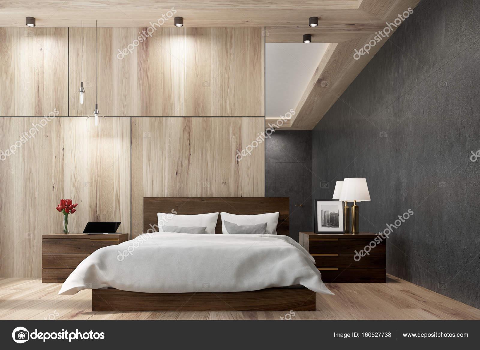 Schwarz und aus Holz Schlafzimmer, Spiegel — Stockfoto ...
