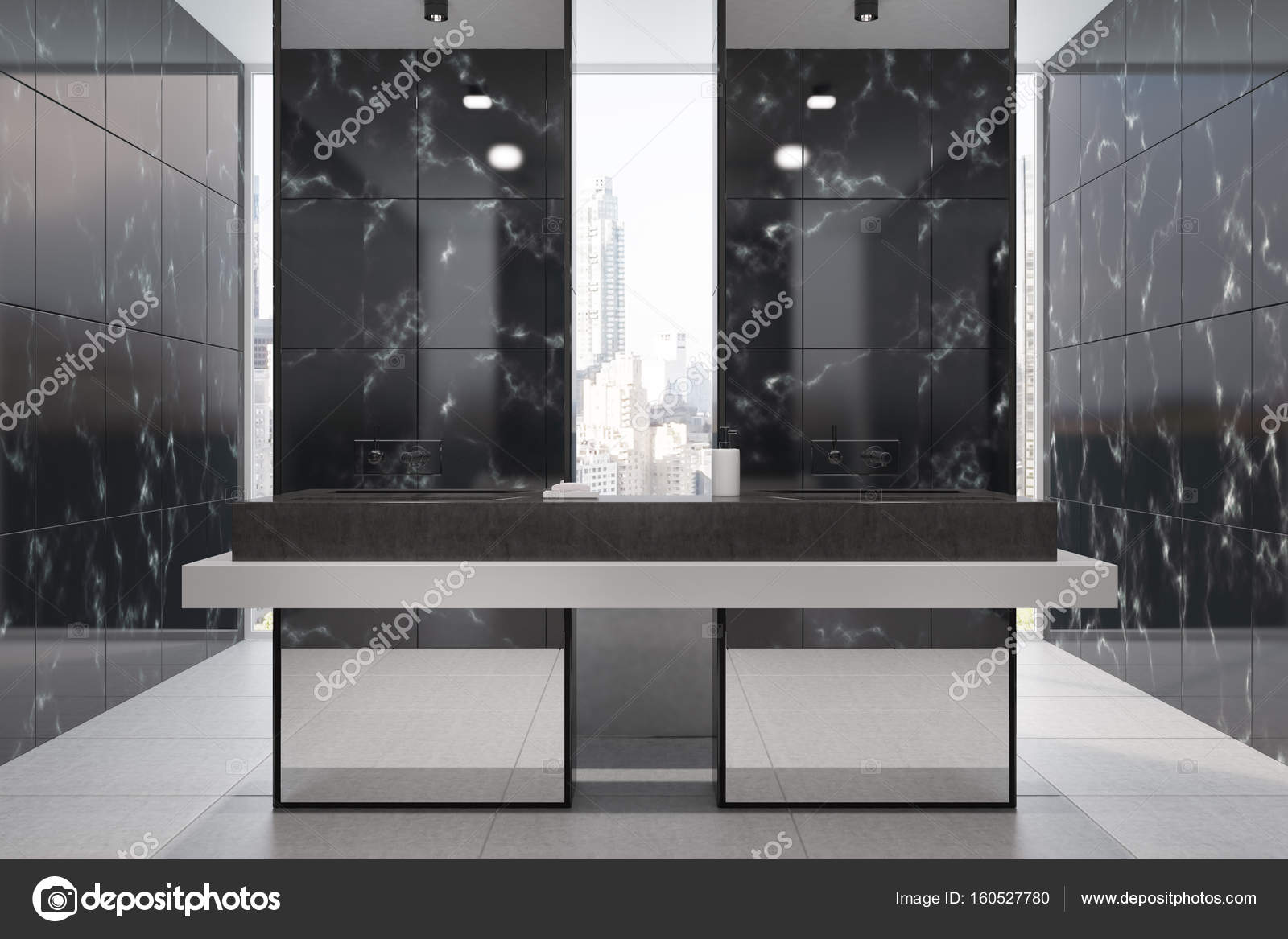Black Marble Bathroom Panoramic Stock Photo C Denisismagilov 160527780
