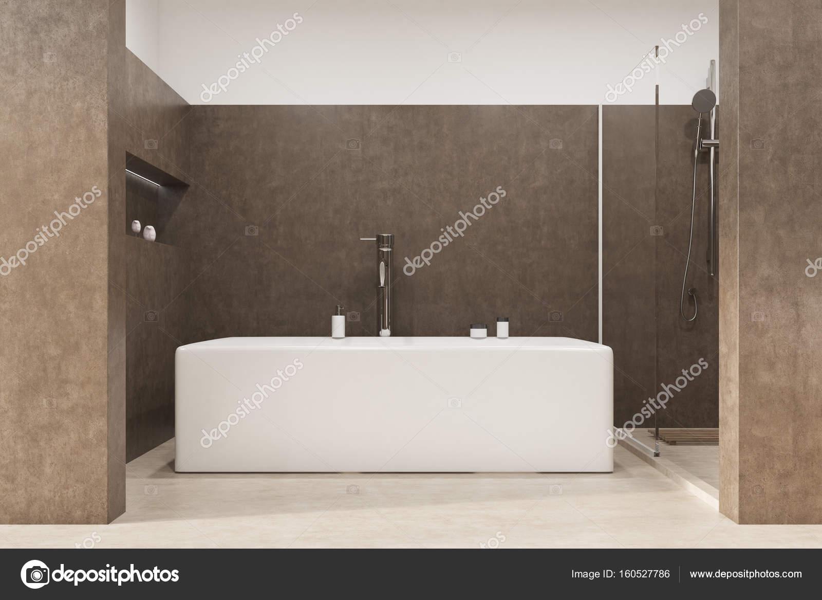 Vasca Da Bagno Con Nicchia : Stanza da bagno con una vasca angolare brown u2014 foto stock