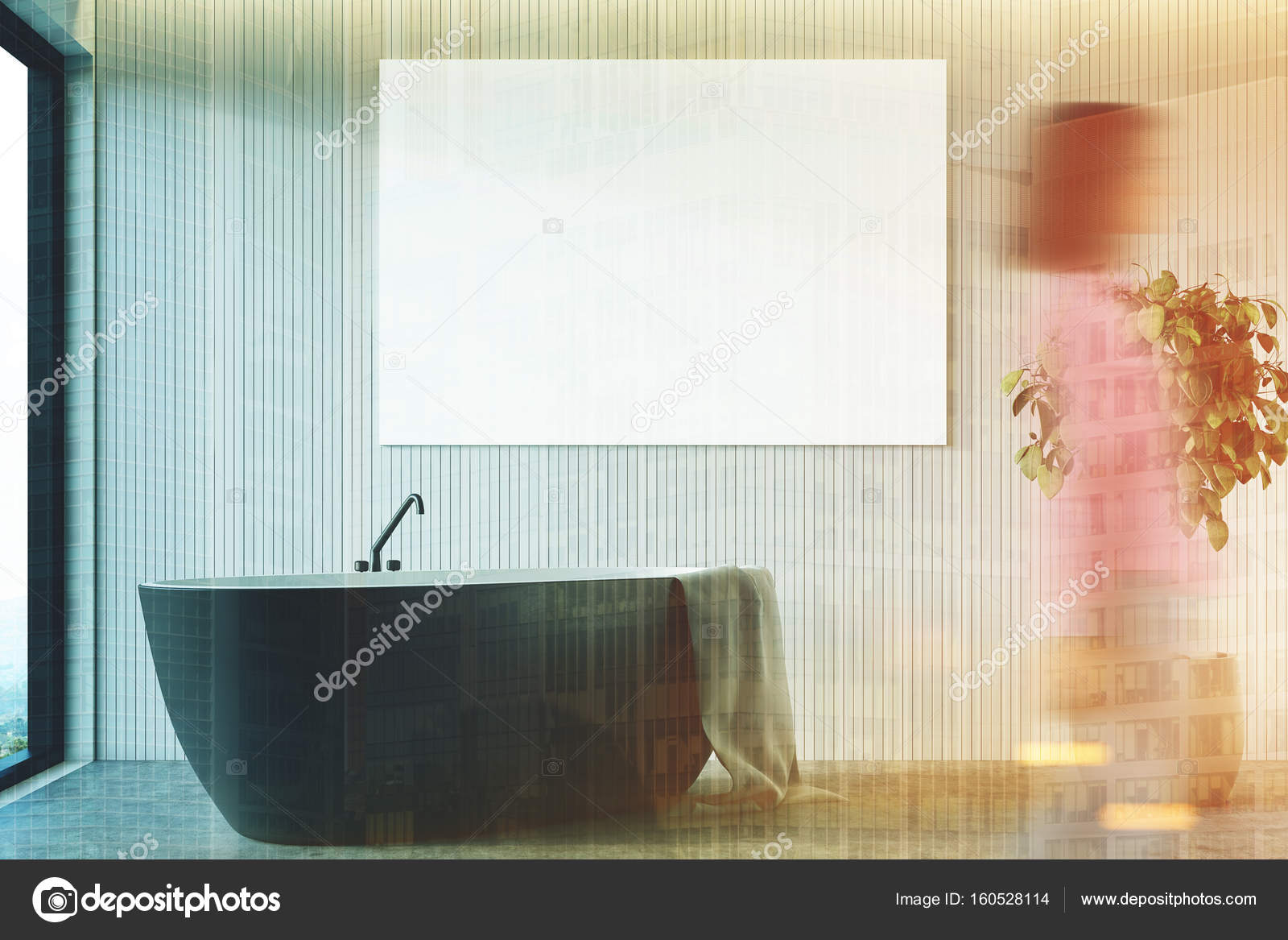 Baignoire de salle de bain beige, noir fermer jusqu\'à ...