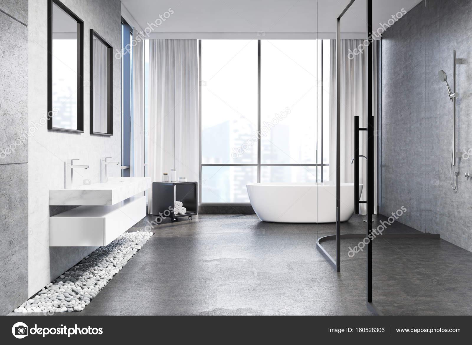 Szary Beton łazienka Widok Z Boku Zdjęcie Stockowe