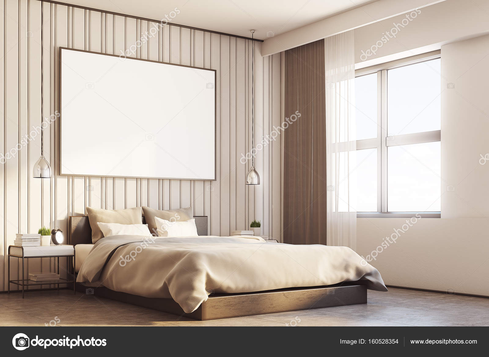 Camera da letto beige con un grande manifesto, lato — Foto Stock ...
