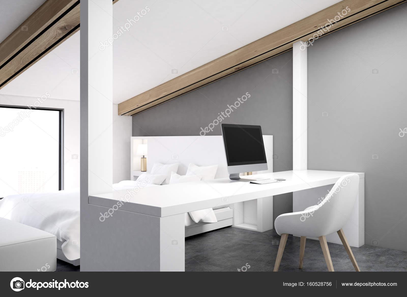 Gray Attic Bedroom Home Office Corner Gray Stock Photo