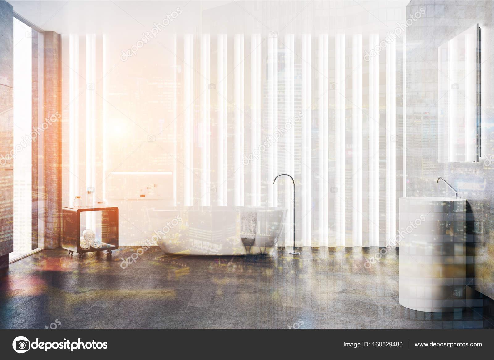 Intérieur De Salle De Bain Blanc Rond évier Tonifié Photographie