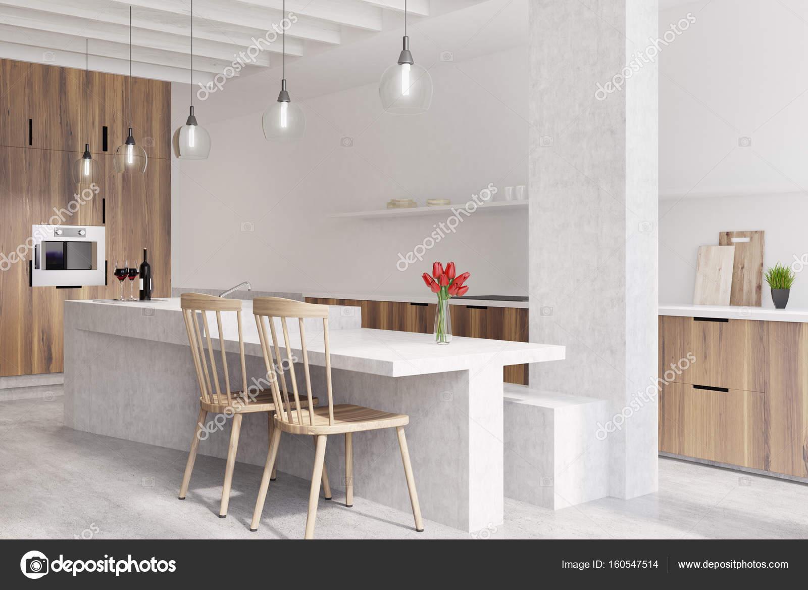 Marmeren bar witte keuken oven u stockfoto denisismagilov