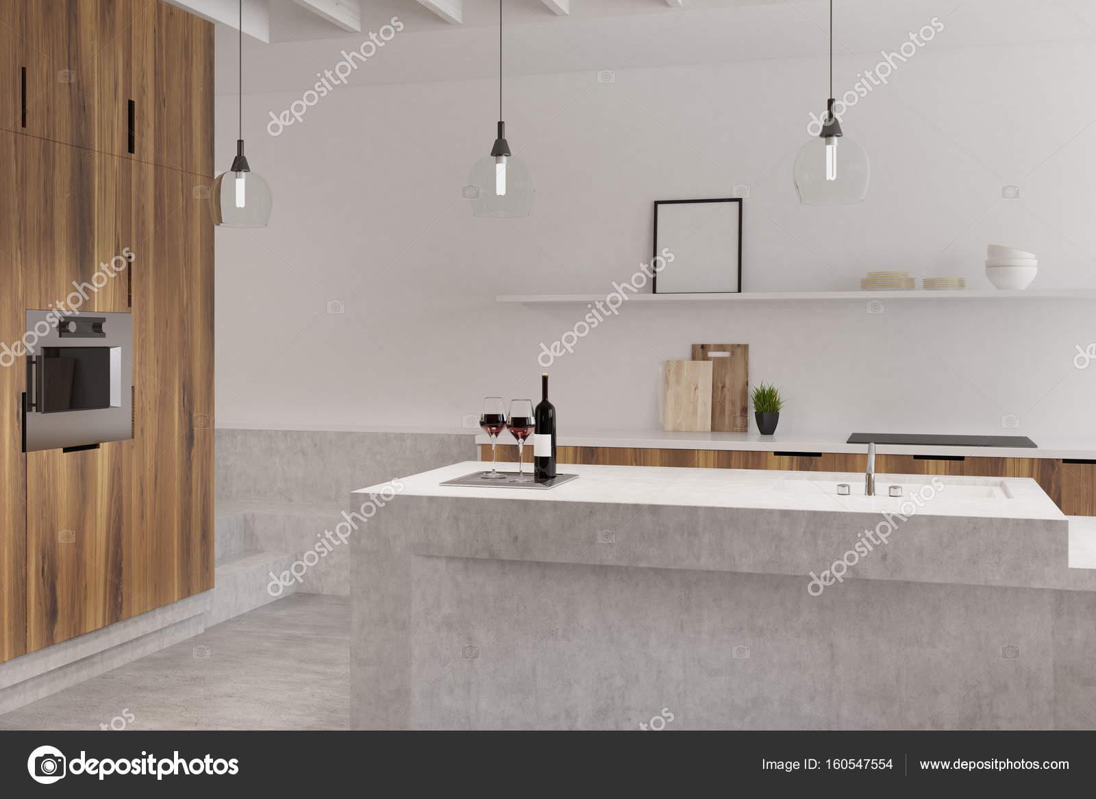 Marmer bar witte keuken oven poster u stockfoto denisismagilov