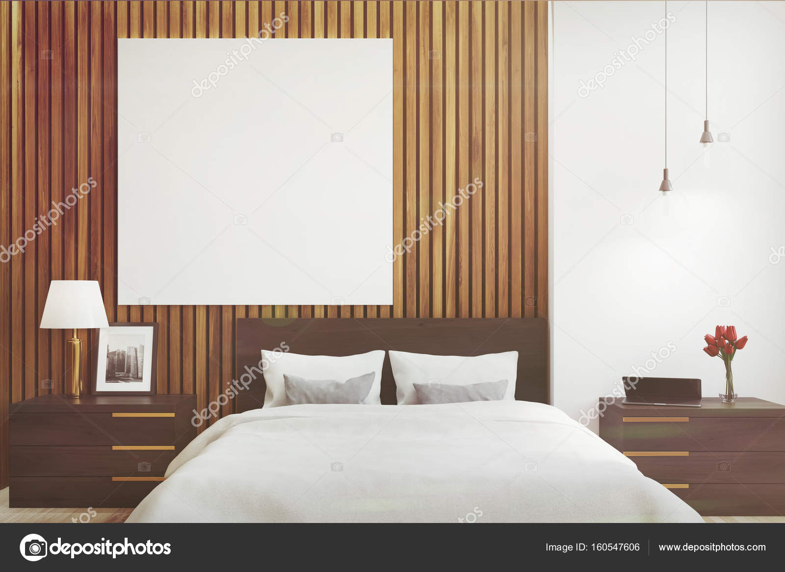Posters Per Camera Da Letto : Camera da letto bianca e legno poster tonica u foto stock