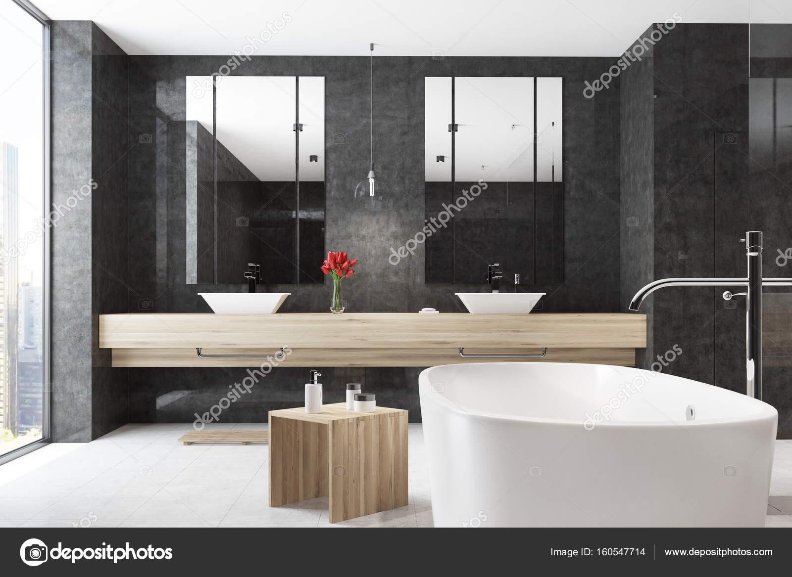 Genial Badezimmer Badewanne Dekoration Von Ecke Von Einem Schwarzen Interieur Mit Einem