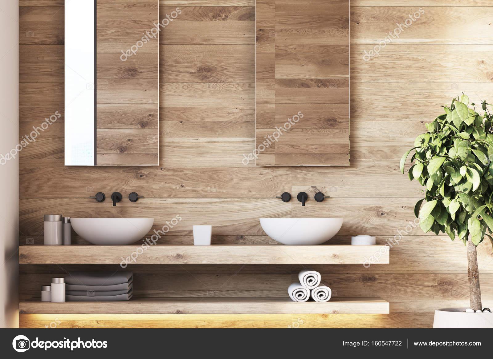 Houten Plank Badkamer : Houten badkamer interieur putten boom u stockfoto