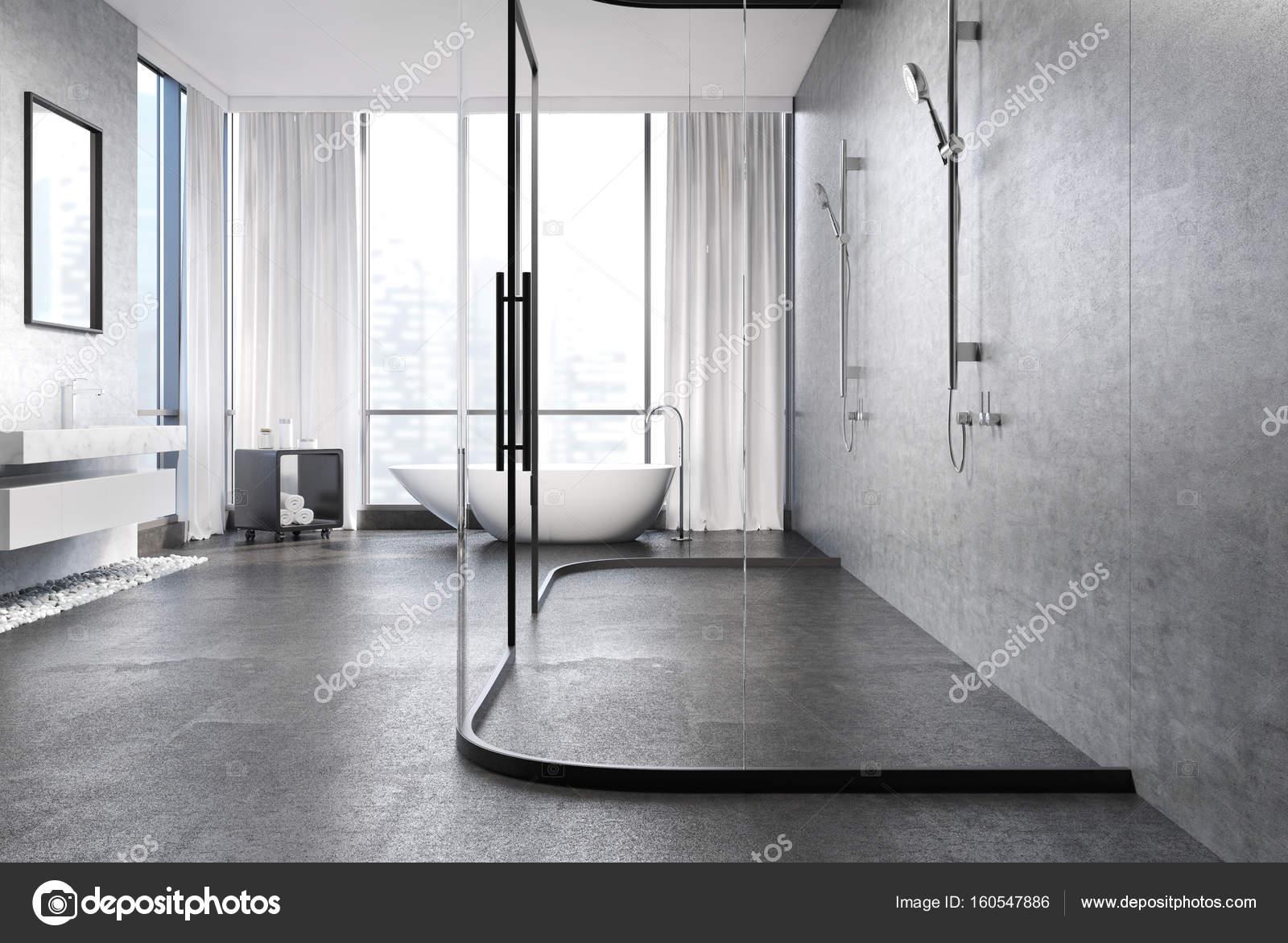 Szary Beton łazienka Prysznic Zdjęcie Stockowe
