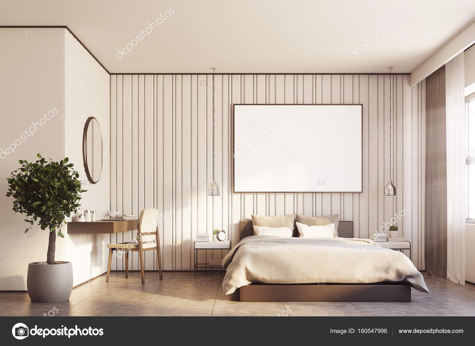 Beige slaapkamer met een grote poster — Stockfoto © denisismagilov ...