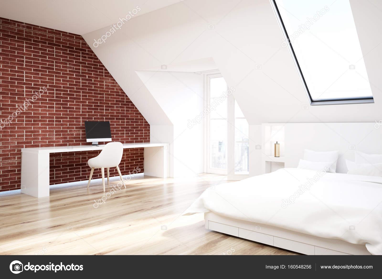 Slaapkamer Houten Vloer : Baksteen houten vloer zolder slaapkamer kantoor aan huis