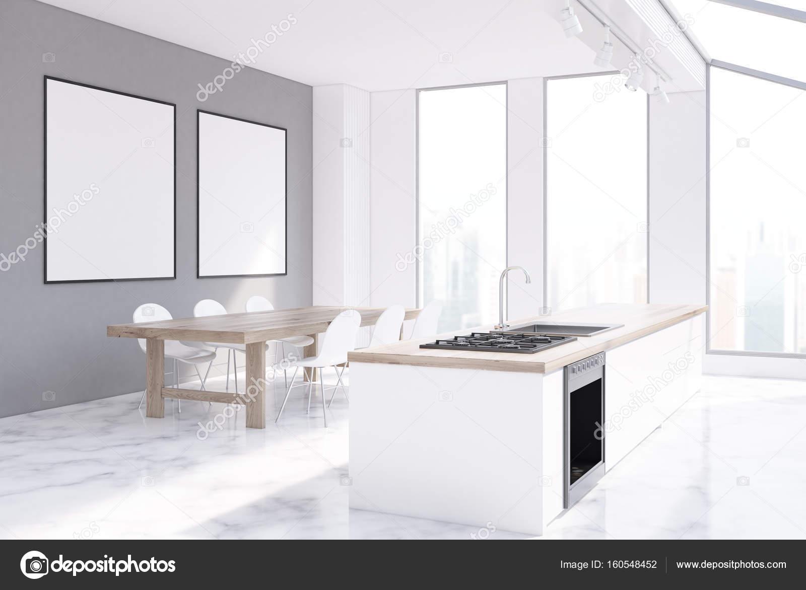 Graue Küche Interieur, Plakate — Stockfoto © denisismagilov #160548452
