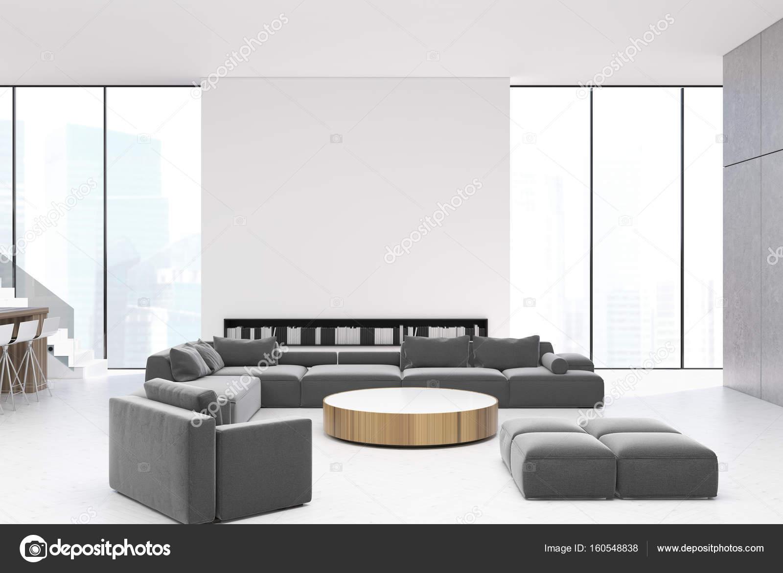 Wit woonkamer interieur, grijze banken — Stockfoto © denisismagilov ...