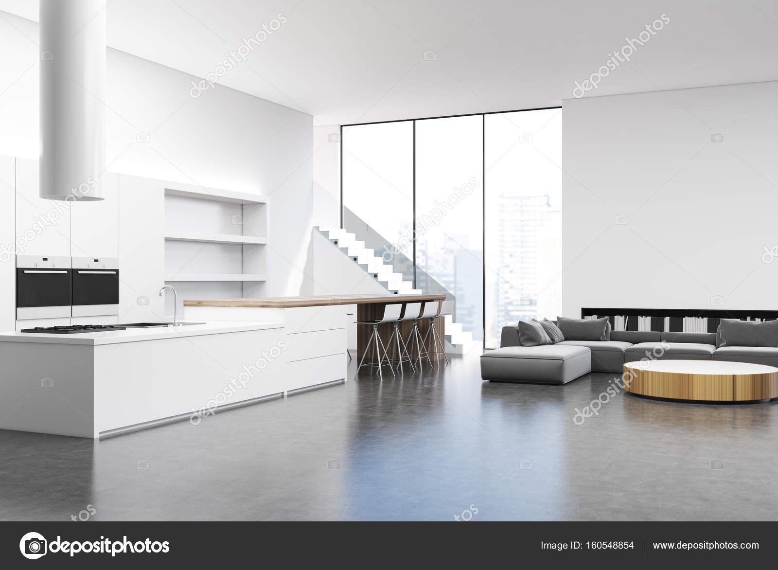 Belső fehér konyha és nappali, oldalsó — Stock Fotó ...