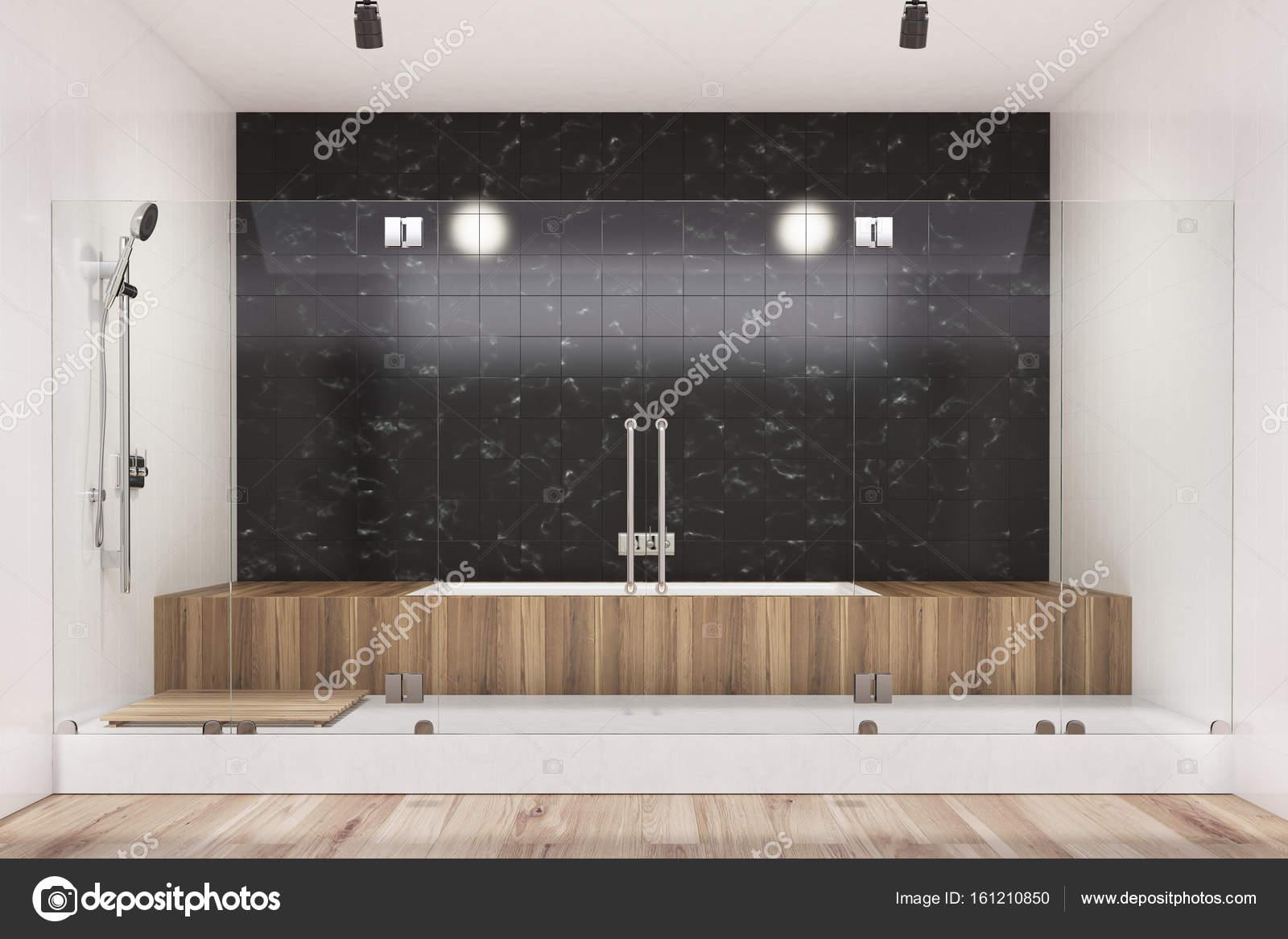 Vasca Da Bagno In Legno : Vasca da bagno nero interni in legno doccia u foto stock