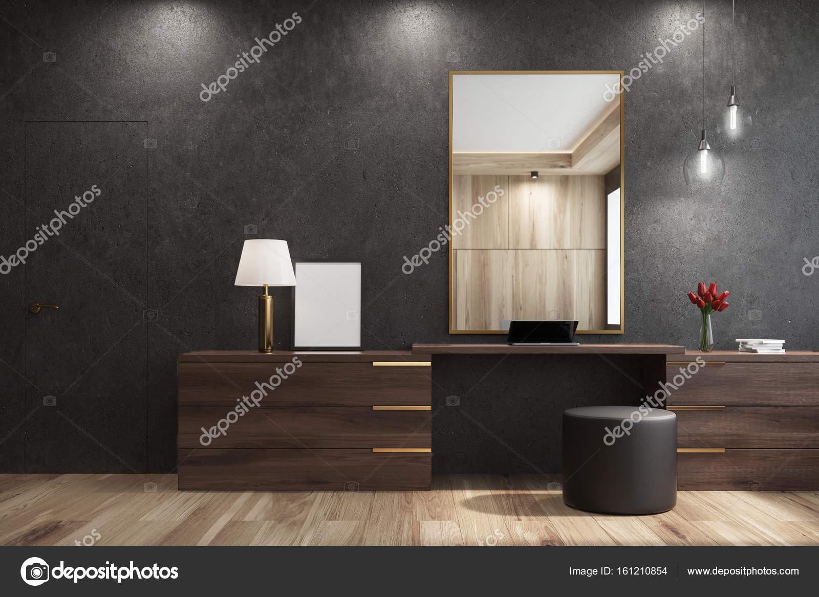 Design Spiegels Woonkamer : Zwarte woonkamer met een spiegel u stockfoto denisismagilov