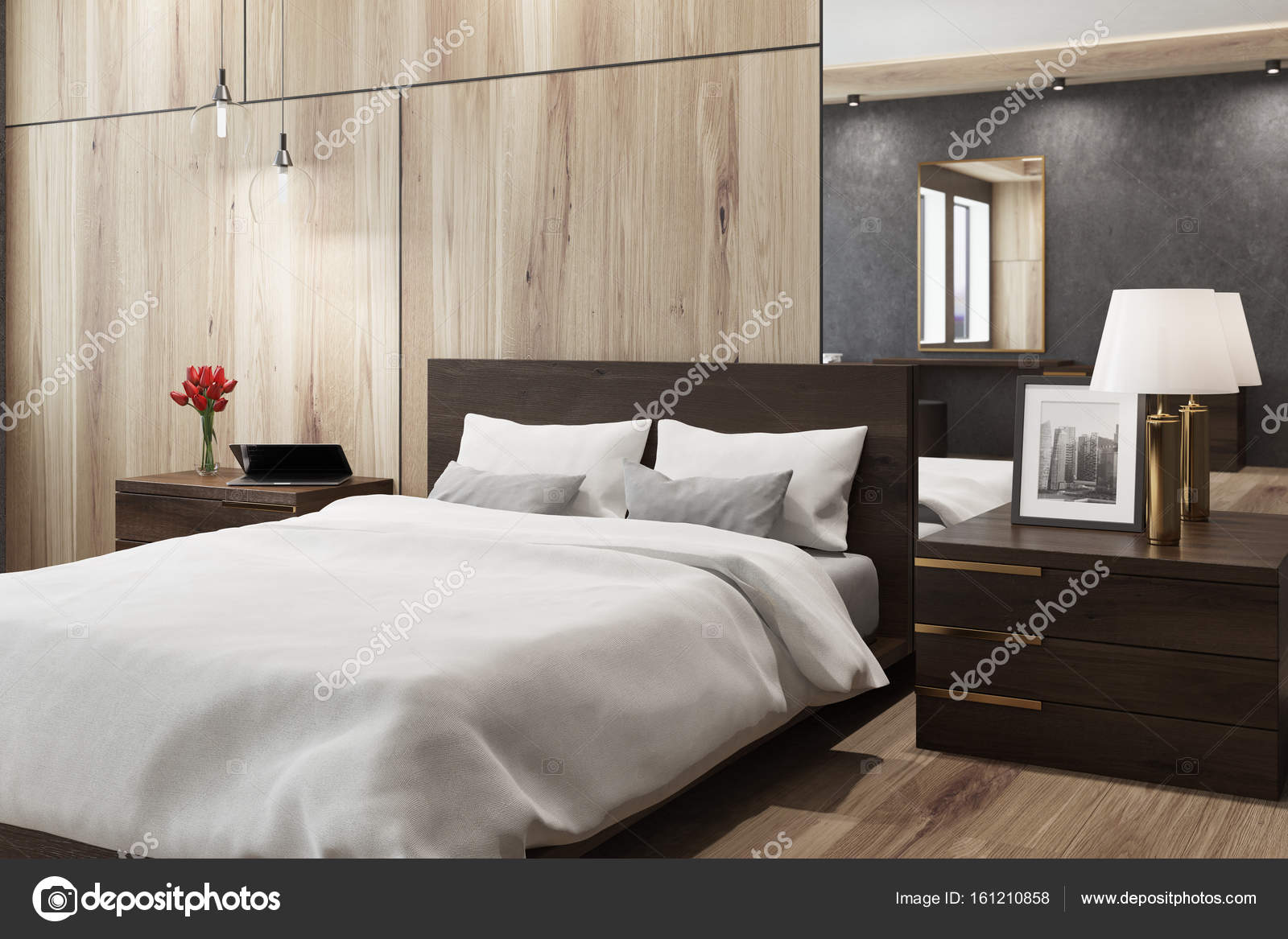 Zwart en houten slaapkamer, spiegel, kant — Stockfoto ...
