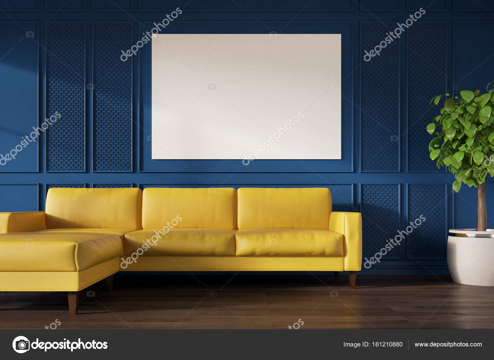 blaue wand gelbe sofa poster stockfoto denisismagilov 161210880. Black Bedroom Furniture Sets. Home Design Ideas