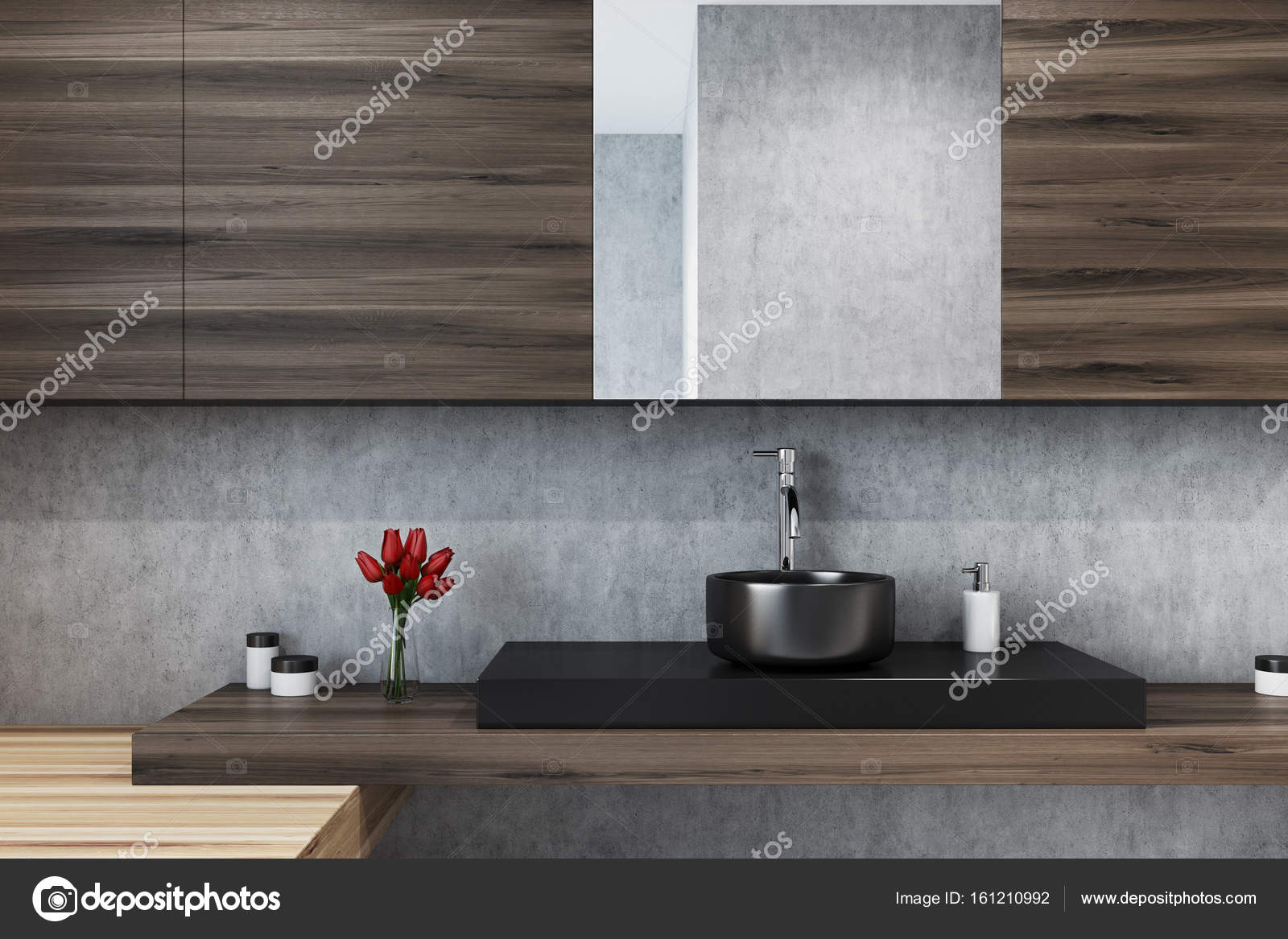 Concrete badkamer, spiegel en wastafel close-up — Stockfoto ...
