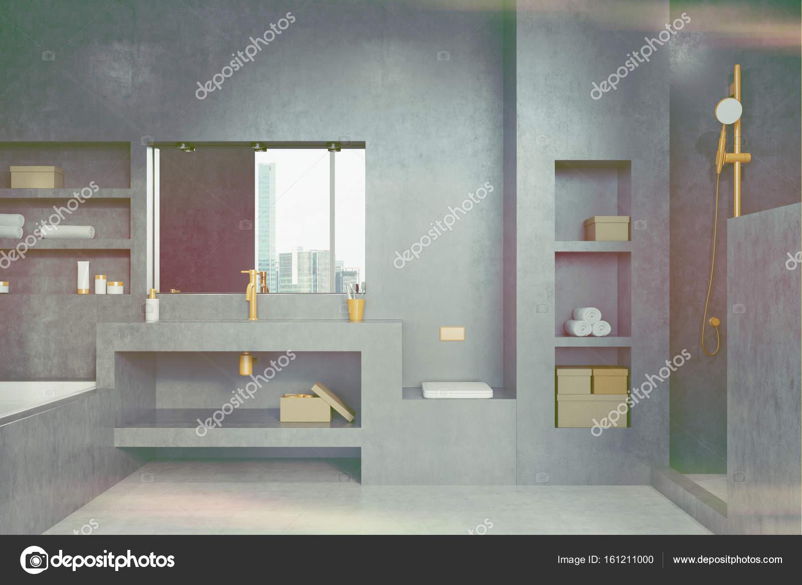 Modern houten badmeubel grijze tegels wit gestucte muren badkamer