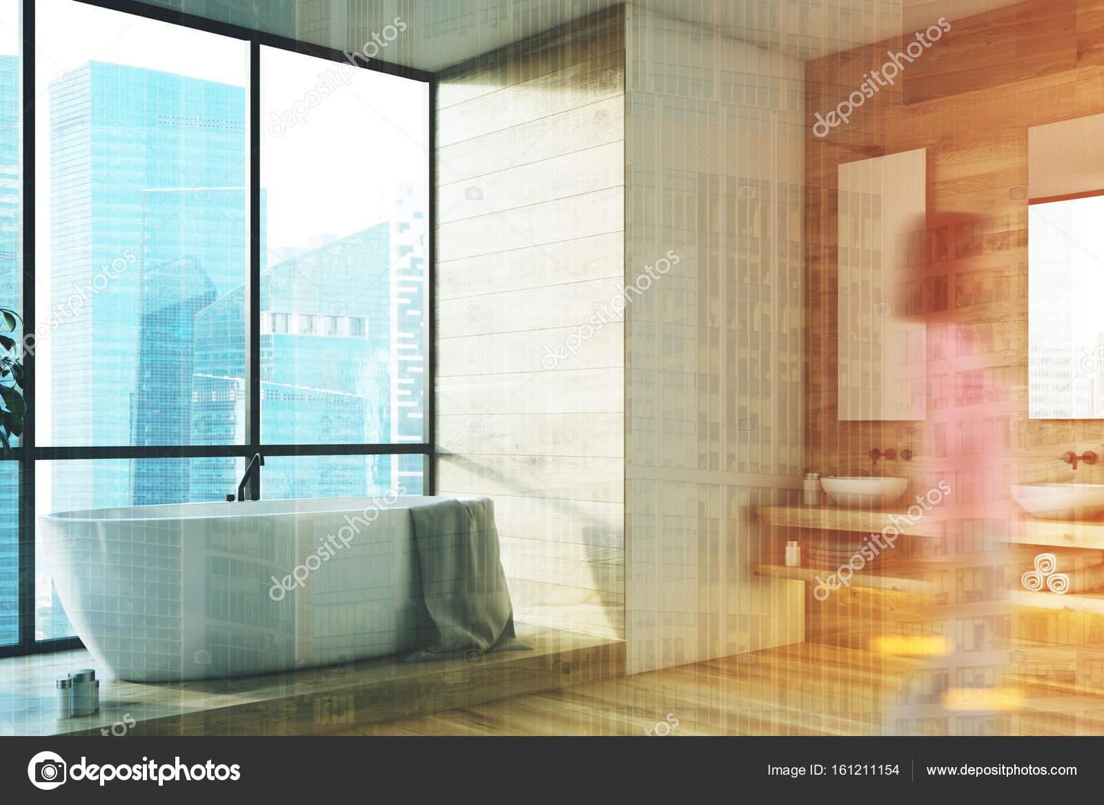 Großes Fenster Badezimmer Interieur, Seite, Mädchen ...