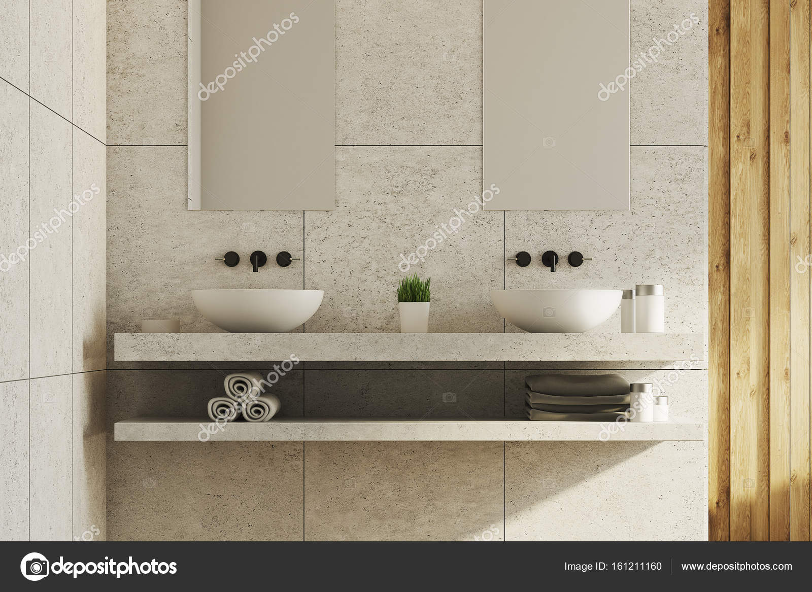 Marmer en houten badkamer, putten — Stockfoto © denisismagilov ...
