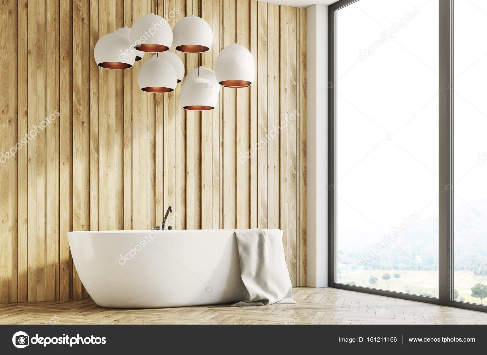 Wnętrze Po Stronie Drewniane łazienka Zdjęcie Stockowe