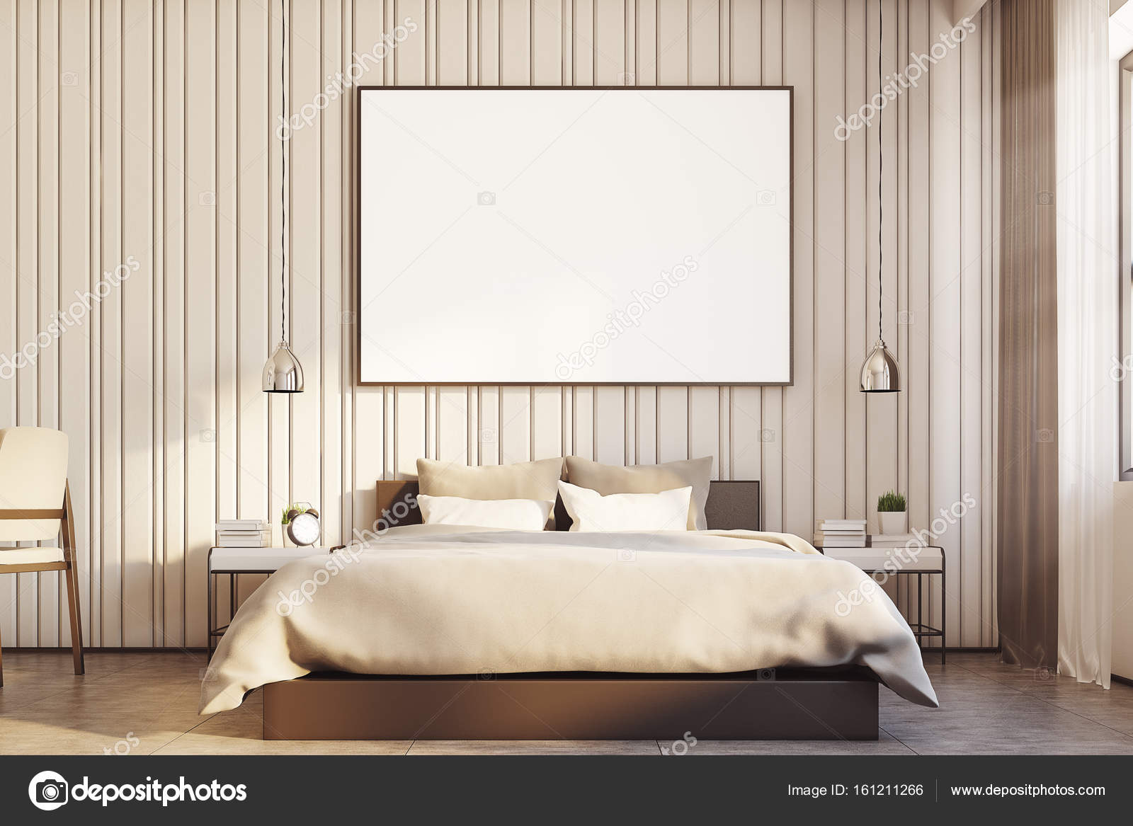 Beige slaapkamer met een grote poster close-up — Stockfoto ...