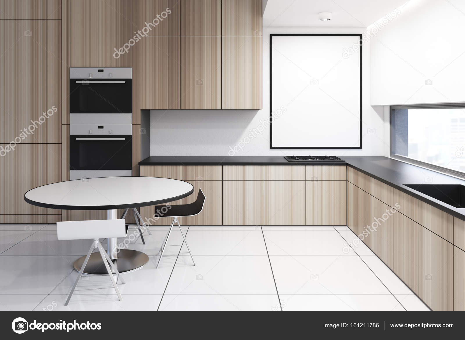 Cocina madera con mesa, cartel — Foto de stock © denisismagilov ...