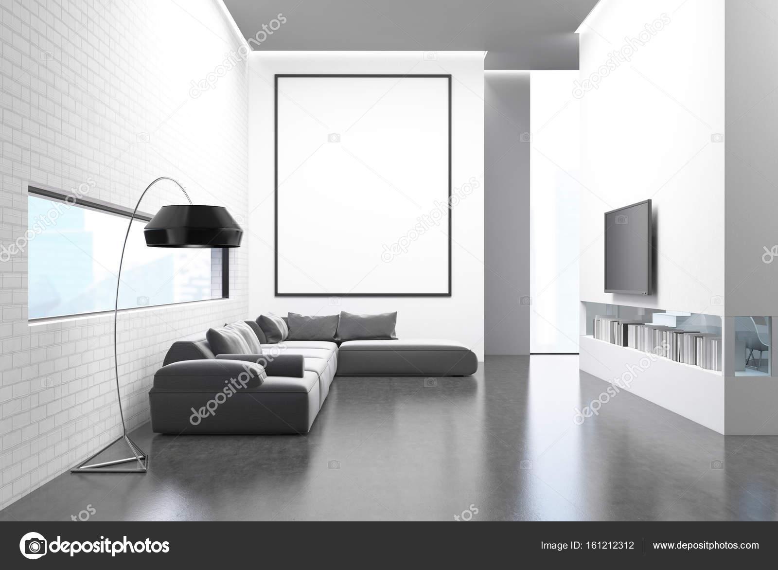 Graue Sofa Wohnzimmer, Tv und poster — Stockfoto © denisismagilov ...