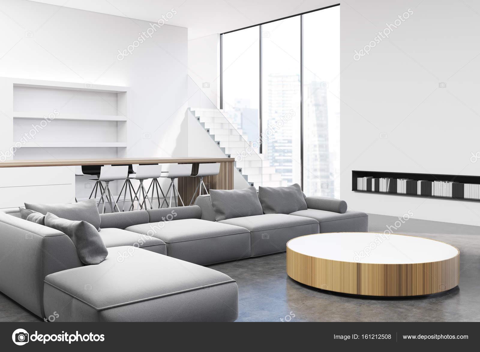 Wohnzimmer Innenraum, graue Sofas, Ecke — Stockfoto © denisismagilov ...