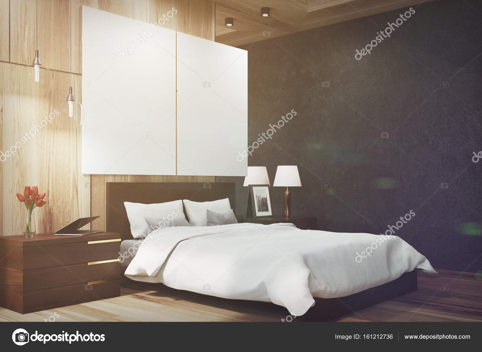 Zwart en houten slaapkamer, posters, kant toned — Stockfoto ...