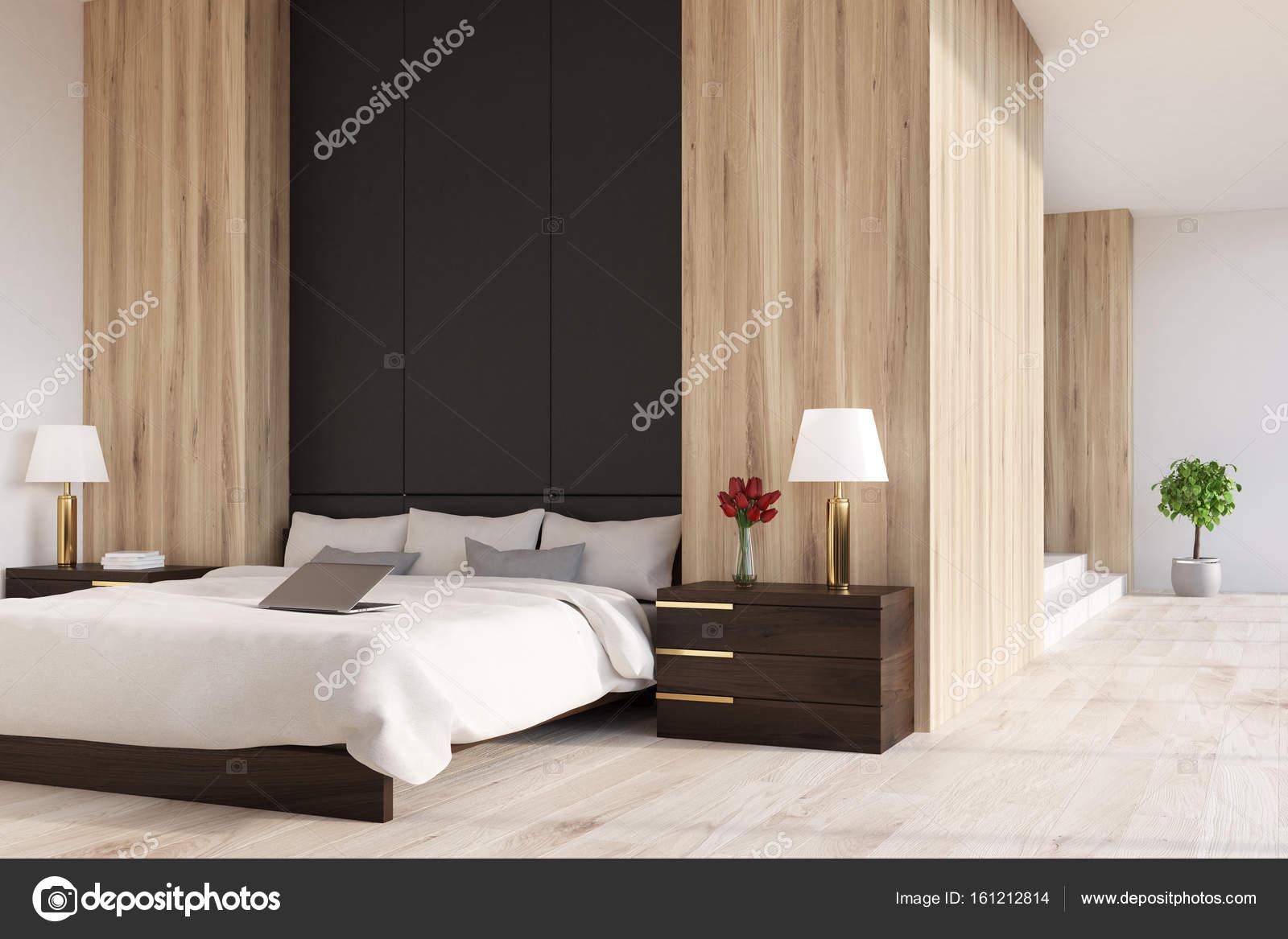 Côté panoramique, chambre à coucher en bois et noir, — Photographie ...