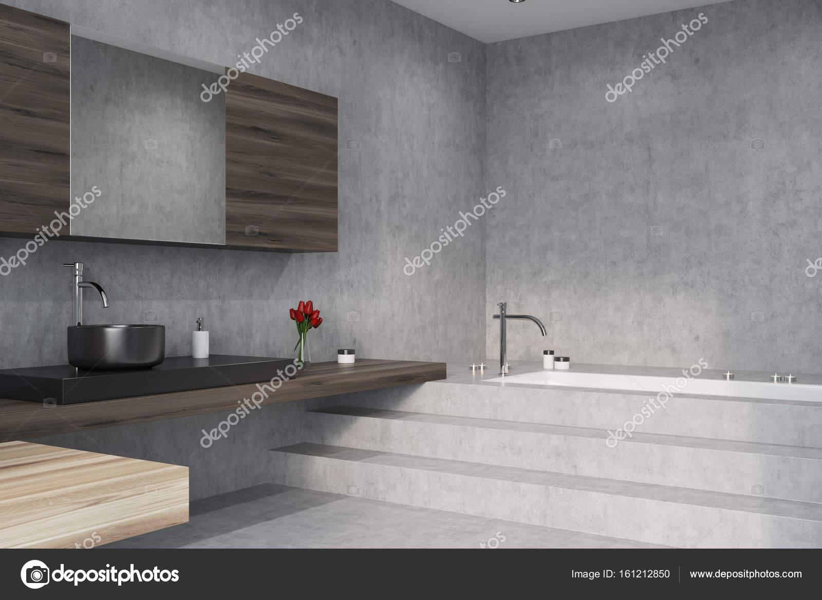 Beton, Bad, Wanne und Waschbecken, Ecke — Stockfoto ...