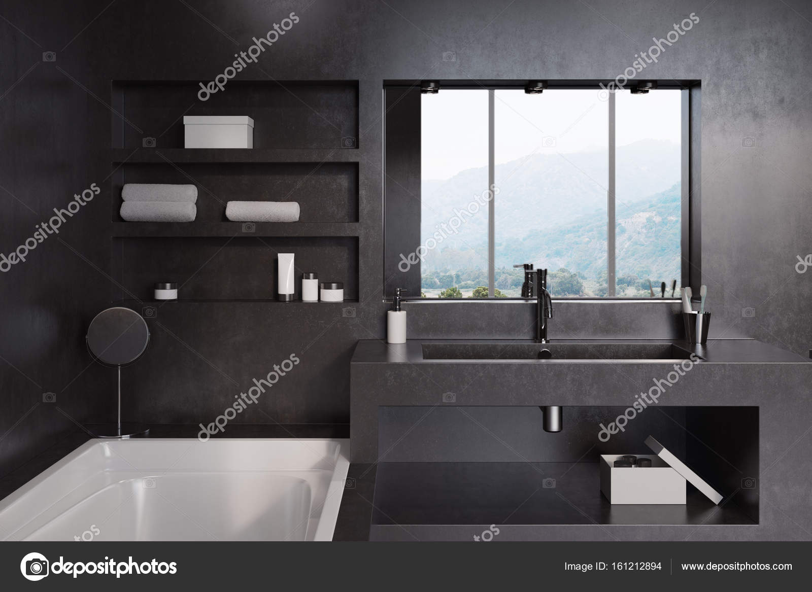 Zwarte badkamer, bad, wastafel en spiegel close-up — Stockfoto ...