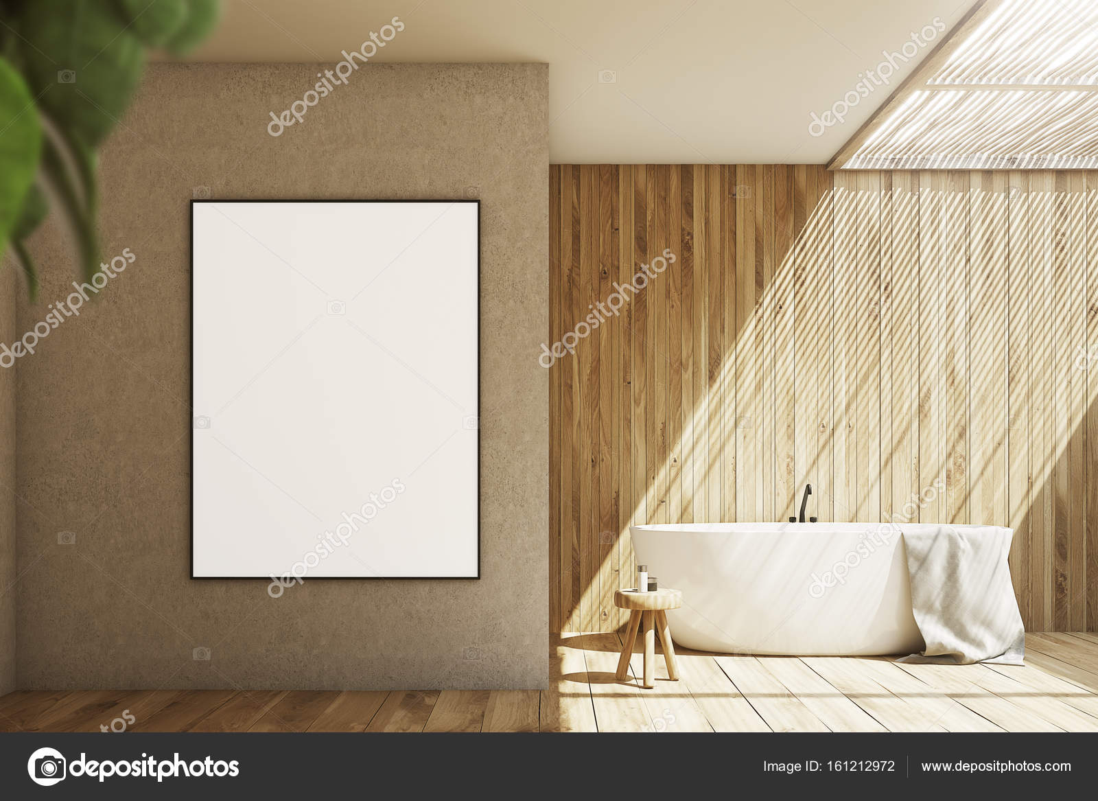 Salle de bains en bois et beige, affiche — Photographie ...